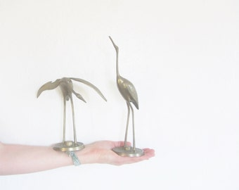 brass metal crane decor . mid century modern set . egret heron stork bird pair .sale
