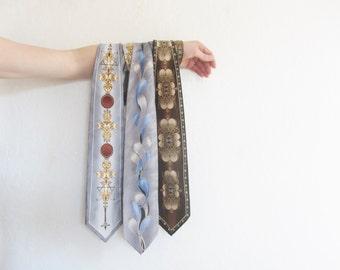 fancy silk Italian necktie trio . vintage gentlemens set of three . da vinci code esque .sale s a l e