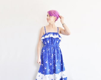 cobalt BLUE floral sundress . wide ruffle folk summer dress .medium.large .sale