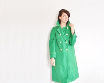 bright kelly green trenchcoat . mod double breasted rain jacket .medium.large .sale
