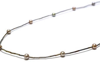 Delicate Metallic Bugle Bead & Bronze Pearl Necklace