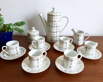 Mid Century Espresso Set / Coffee Tea Set / Coffee Pot, 6 Cups, 6 Saucers, Sugar, and Creamer Set / 17 Pieces Made in Japan / White + Gold
