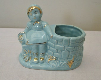 Vintage Blue & Gold Girl By The Well Planter
