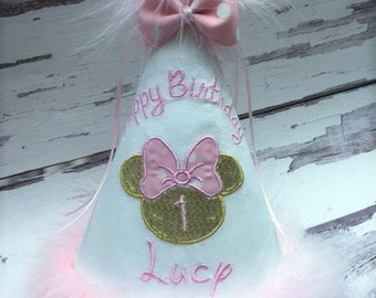Custom Light Pink and Gold Minnie Mouse Boutique Birthday Hat.