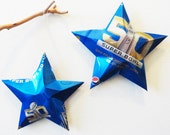 SuperBowl 50, Star Pepsi NFL Ornaments, Soda Can Upcycled, Repurposed Pepsi-cola, Red White Blue Gold Black