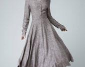 long sleeve dress, Linen Dress,  Spring dress, maxi dress,V neck dress, shirt dress, vintage inspired dress, Custom dress, button dress 1456