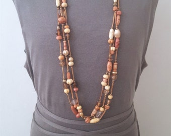 SALE...Beautiful Long Sahara Summer Mixed Stone Necklace. Perfect Jewelry Gift. Gift for her. Triple Strand Necklace. Wood necklace