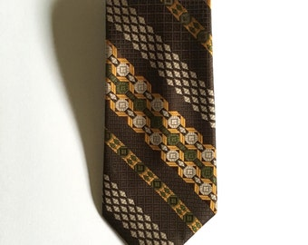Vintage Neckties Men's 70's Wembley, Clip On Tie, Polyester, Brown, Geometric