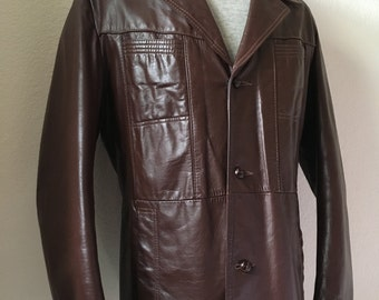 Vintage Men's 70's Brown, Leather Jacket, Fully Lined, Button Up, Coat by Reed (L)