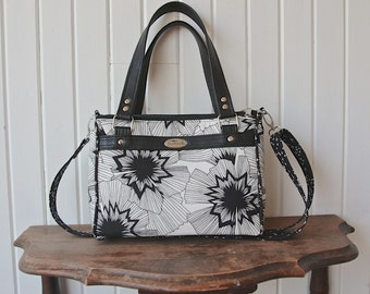 Dandelion Double Zip Handbag in Cotton and Steel Persephone with black faux leather