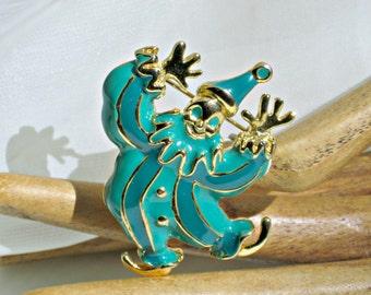 Happy Clown Brooch Vintage Jewelry 2 Tone Blue Enamel Pin