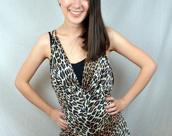 Vintage RARE Vanity Fair Nightgown 70s Jumpsuit Leopard Print Sexy Cocktail Party Romper