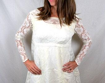 1960s Vintage Crazy Lace Princess Bride Lace Renaissance Wedding Dress