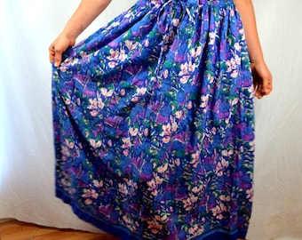 Vintage 1970s Hippie Gauzy Cotton Broom Skirt - Anokhi