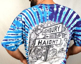 RARE Vintage 1992 Haight Ashbury San Francisco Grateful Dead Tie Dye Tee Shirt Tshirt - XL 2X Plus