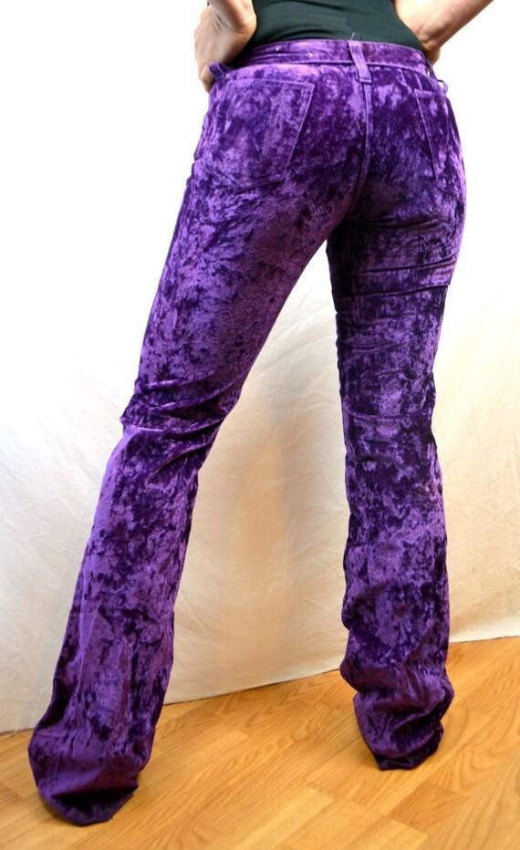 Vintage Crushed Purple Velvet Low Waisted Hip Hugger Bell Bottoms - H Bar C California Ranchwear