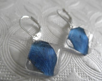 Sky Blue Hydrangea Petals Pressed Flower Square Glass Domed Leverback Earrings-Nature's Wearable Art-Gifts Under 25-Symbolizes Understanding
