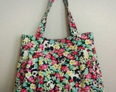 PLEATED TOTE - floral pandas