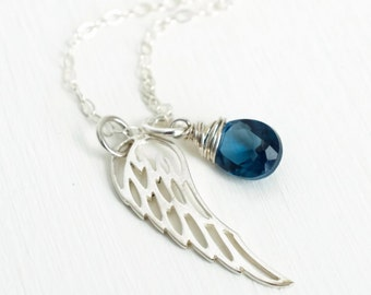 September Miscarriage Necklace / September Birthmonth Stone / Infant Loss Jewelry / Sterling Silver Angel Wing Necklace