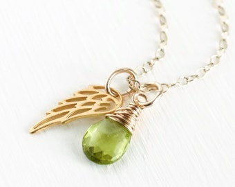 Miscarriage Necklace / August Baby / August Birthstone Necklace / Gold Angel Wing Necklace / Peridot Necklace / Memorial Gift