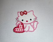 Free Shipping  Ready To Ship Valentines   kitten Fabric   iron on applique