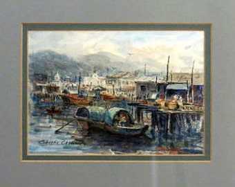 Vintage Original Watercolor PAINTING / Signed by Chin Chung a well known artist / Chinese seaport marina / Fishing boats / Blue painting