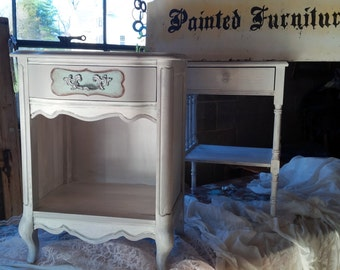 Nightstand Shabby Vintage French Provincial Poppy Cottage Painted Furniture