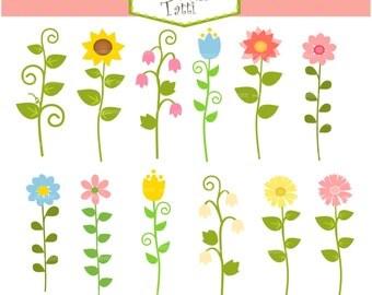 ON SALE Long stem Flowers Clip Art - Cute Flowers Clip Art, summer flowers clip art, garden clip art, flower Clip Art
