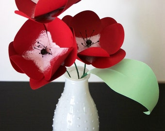Anemones Paper Flower Arrangement in a White Vase, Home Decor, Table Decor, Bridal Shower, Office Decor, Mothers Day Gift