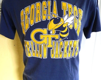 Georgia Tech Yellow Jackets 1980s vintage tee shirt - blue size large