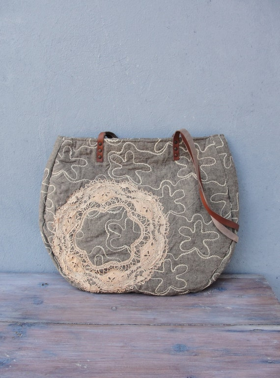 Large Linen Bag with Lace, Linen, Nostalgia, Quilted, Vintage Doily, Leather