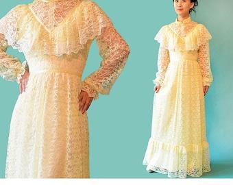 Vintage 70s Lace Dress / Alternative Boho Wedding Dress / Sheer Lace Bohemian Maxi Dress / 1970s Victorian Long Maxi Prairie Dress S / M