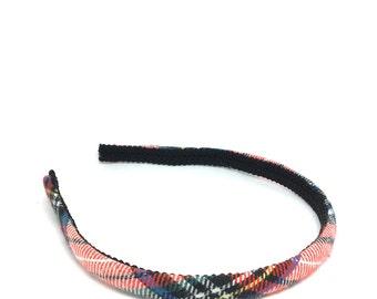 Skinny Plaid Headband - Tartan Plaid Headband Preppy -  White, Red, Black, Blue, Yellow Green - Blair Waldorf - Girls and Women's Headbands