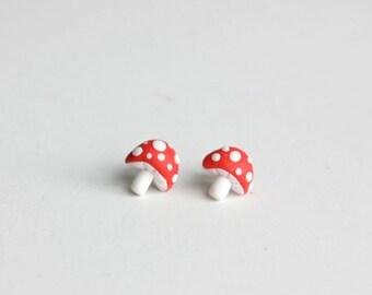 Mushroom Stud Earrings - small red stud earrings, toadstool earrings, mori kei, cute studs, tiny mushrooms, nickel free, forest jewelry