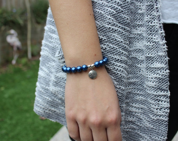 Dream Blue Glass Pearl Bracelet.