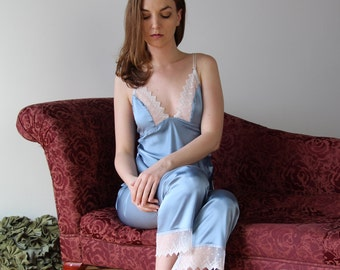 stretch silk pajama set with embroidered lace trim - ALICE bridal range - made to order