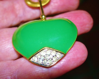 Green Gold Tone Heart Jewelry  Signed Panetta  Clear Rhinestone .