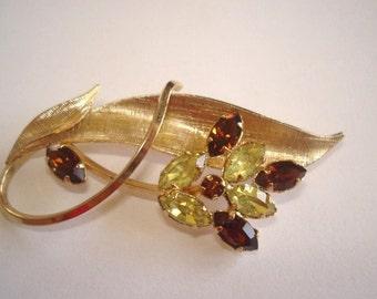 Vintage GF Signed Art Topaz Rhinestone  Jewelry Brooch and Earrings