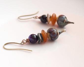 Purple Amethyst Earrings, Boho Chic Earrings, Teardrop Earrings, Stone Bead Earrings, Lampwork Glass Earrings, Unique Artisan Earrings