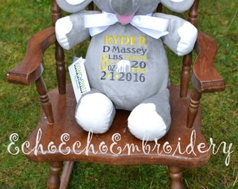 Elephant Birth Announcement Baby Keepsake Plush Stuffed Animal Cubbie Personalized