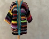 Hand Knitted Kaftan Cardigan Long Handmade Cardigan Colorful Striped Sweater Plus Size Clothing Chunky Cardigan Oversized Sweater Wife Gift