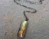 Labradorite Necklace, Rectangle Crytstal Pendant, Gemstone, Modern, Boho Bohemian, Handmade Jewelry, Blue, Silver Oxide, Gunmetal