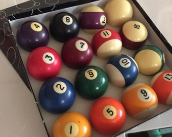 Vintage Set of Bakelite Billiard Balls -- Pool Balls -- In Original Box