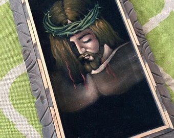 Vintage Wood Framed Black Velvet Jesus Painting