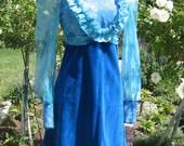 Vintage Ruffled Blue Floral 70s Mini Dress Velvet Skirt 34 Bust S