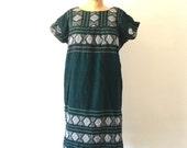 Woven Mexican Dress Vintage 1970s Dark Green Geometric Tribal Midi Dress L