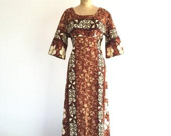 1960s Vintage Hawaiian Dress Brown Floral Print Bell Sleeve Maxi Dress L