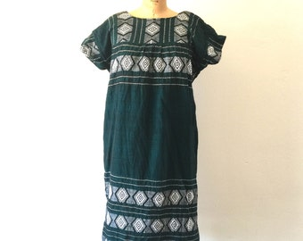Woven Mexican Dress Vintage 1970s Dark Green Geometric Tribal Midi Dress L