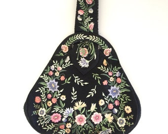 Floral Embroidered Vintage 1950s Purse Black Floral Tapestry Handbag