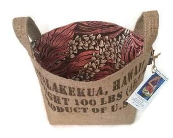 MTO. Custom. Burlap Gift Basket. Coffee Lover. Repurposed Hawaii, USA Coffee Bag - Large. Handmade in Hawaii.